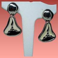 Vintage Givenchy Cream Black Enamel Silver Tone Drop Earrings