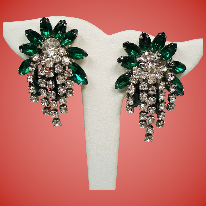 c1642ac1704c7 Vintage Hattie Carnegie Green Navette Rhinestone Cascading Earrings.