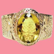 Estate Huge Faceted Oval Lemon Yellow Quartz Gemstone Sterling Cuff Bracelet.