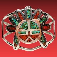Vintage Native American Turquoise Coral Chip Inlay Kachina Sun Face Sterling Cuff Bracelet