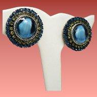 Vintage Har Blue Givre Rhinestone Earrings