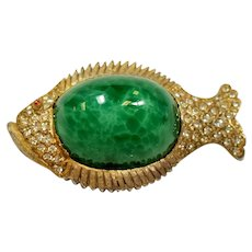 Vintage Har Green Marbled Glass Stone Fish Pin