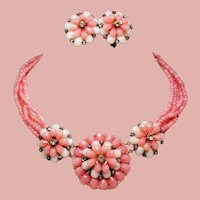 Vintage Miriam Haskell Pink Flower Petals Chatons Necklace Earrings Demi Parure