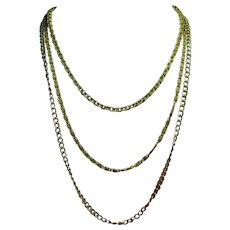 Vintage Miriam Haskell Graduated Length Triple Chain Necklace
