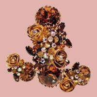 Vintage Unsigned Hattie Carnegie Incredible Huge Topaz Rhinestones & Roses Bracelet and Earrings Demi Parure