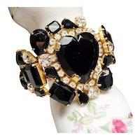 Vintage Massive Black Rhinestone Heart Clamper Bracelet