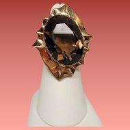Vintage Huge 20 Carat Faceted Smoky Quartz Gold Filled Adjustable Cocktail Ring