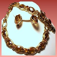Vintage Huge Topaz Pear Open Back Glass Rhinestone Parure Rhinestone