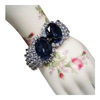 Vintage Big Bold Blue Rhinestone Hinged Clamper Bangle Bracelet