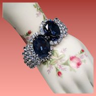 Vintage Big Bold Blue Rhinestone Hinged Clamper Bangle Bracelet