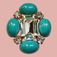 Vintage Large Emerald Cut Colorless Rhinestone & Faux Turquoise Cabochons Brooch