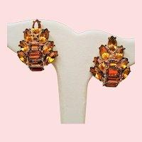 Vintage Hollycraft Golden Citrine Rhinestone Earrings