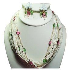 Vintage Hobe White Seed Bead Open Back Crystal Torsade Necklace Drippy Earrings Demi Parure