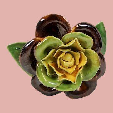 Vintage Hobe Porcelain Ceramic Giant Gardenia Flower Brooch Original Box