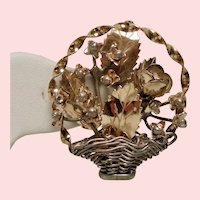 Vintage Hobe 14K on Sterling Basket of Flowers Brooch