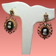 Antique Victorian Sardonyx Hard Stone Cameo Seed Pearl 14K Drop Earrings