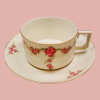 Vintage Heinrich & Co Selb Bavaria Roses Teacup and Saucer