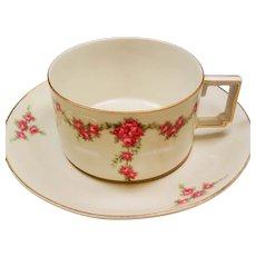 Vintage Heinrich & Co Selb Bavaria Roses Teacup and Saucer