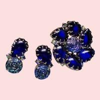 Vintage Iridescent Art Glass Rosettes Cobalt Open Back Stones Brooch Earrings Set