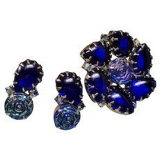 Vintage Iridescent Art Glass Rosettes Cobalt Open Back Stones Brooch Earrings Set