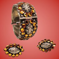 Vintage Italian Ascoli Piceno 800 Silver Golden Rhinestone Hinged Wide Bangle Bracelet Earrings Set