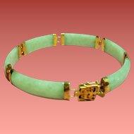 Vintage Celadon Green Jade Link 14K Bracelet