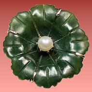 Vintage Jade Flower Cultured Pearl Pendant Brooch