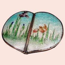 Antique Japanese Ginbari Cloisonne Enamel Iris's Heart Shape Belt Buckle