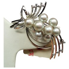 Vintage Japanese Light Silver Gray Akoya Cultured Pearl Sterling Brooch