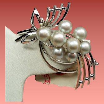 Vintage Japanese Silver Gray Akoya Cultured Pearl Sterling Brooch