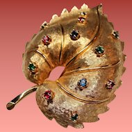 Vintage Jomaz Simulated Gemstone Leaf Brooch