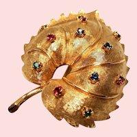 Vintage Jomaz Simulated Gemstone Leaf Brooch
