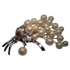 Vintage Japanese Akoya Cultured Pearl Sterling Spray Brooch