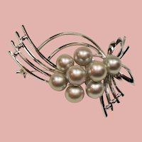 Vintage Japanese Silver Gray Akoya Cultured Pearl Sterling Brooch