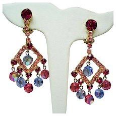 Vintage Juliana D&E Raspberry Pink Rhinestone Faceted Bead Chandelier Earrings