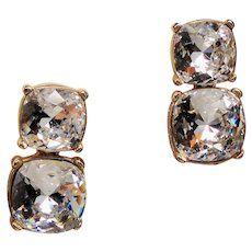 Vintage KJL Kenneth J Lane Double Cushion Shape Rhinestone Drop Earrings