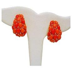 Vintage KJL Kenneth J. Lane Simulated Coral Bombay Style Earrings