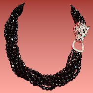 Vintage K.J.L. Kenneth J Lane Black Faceted Glass Bead Torsade Necklace Rhinestone Leopard Clasp