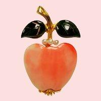 Vintage KJL Kenneth J Lane Fruit Pin Nephrite Leaves