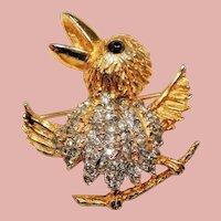 KJL Kenneth J Lane Happy Chirping Rhinestone Bird Brooch