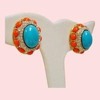 Vintage KJL Kenneth J Lane Faux Turquoise Coral Cabochon Mogul Style Earrings