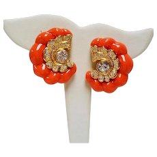 Vintage KJL Kenneth J Lane Simulated Coral Rhinestone Shrimp Earrings
