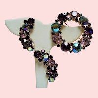 Vintage Karu Arke Purple Lavender Rhinestone Brooch Climbing Earrings Set