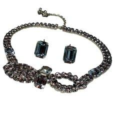 Vintage Karu Icy Blue Lavender Color Change Rhinestone Bow Tie Choker Necklace Earrings Demi Parure