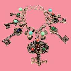 Vintage Faux Cabochon Jewels Keys Charm Bracelet