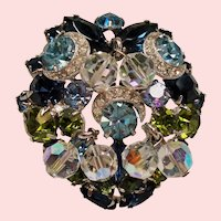 Vintage Kramer Colorful Rhinestone Iced Crescent Drippy Crystal Bead Brooch