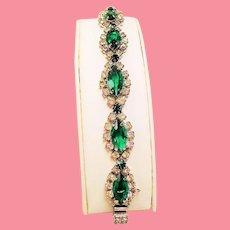 Vintage Kramer NY Emerald Green Navette Rhinestone Bracelet