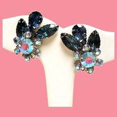 Vintage Kramer Sapphire Blue Rhinestone Spray Earrings