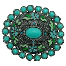 Vintage Little Nemo Turquoise Glass Cabochon Enamel Brooch
