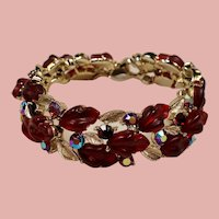 Vintage Lisner Red Oak Leaf Thermoset Rhinestone Bracelet